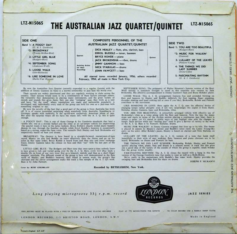 The Australian Jazz Quartet | Just for the Record