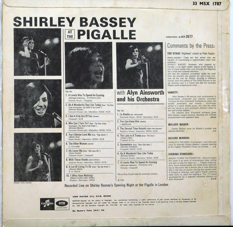 0cd7e2b1123 Shirley Bassey At The Pigalle | Just for the Record
